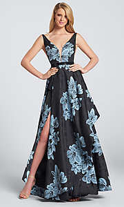 Long Jacquard Print A-Line Formal Dress