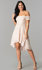 High-Low Off-Shoulder Homecoming Dress in Blush Pink