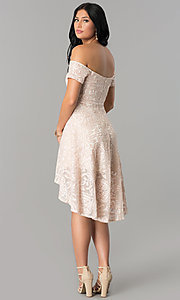 Image of high-low off-shoulder homecoming dress in blush pink. Style: MCR-2436 Back Image