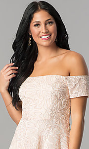 Image of high-low off-shoulder homecoming dress in blush pink. Style: MCR-2436 Detail Image 1
