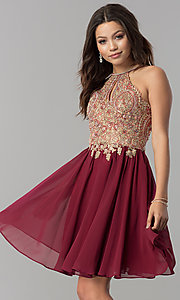 Image of short chiffon homecoming dress with lace applique. Style: NA-6324 Detail Image 1