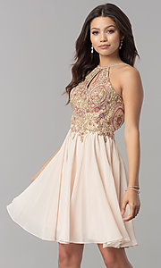 Image of short chiffon homecoming dress with lace applique. Style: NA-6324 Detail Image 3