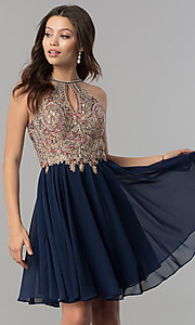 Image of short chiffon homecoming dress with lace applique. Style: NA-6324 Front Image