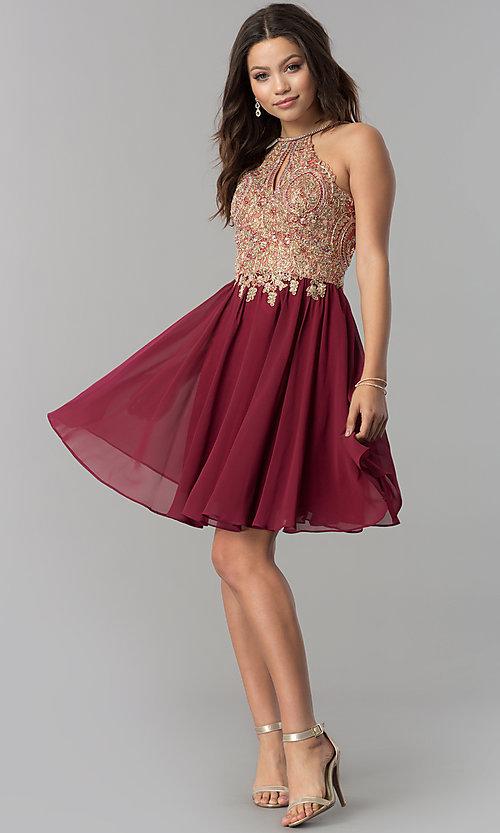 Image of short chiffon homecoming dress with lace applique. Style: NA-6324 Detail Image 2