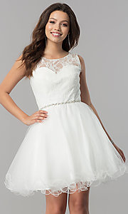 Image of short a-line holiday party dress with lace bodice. Style: NA-6323 Detail Image 3