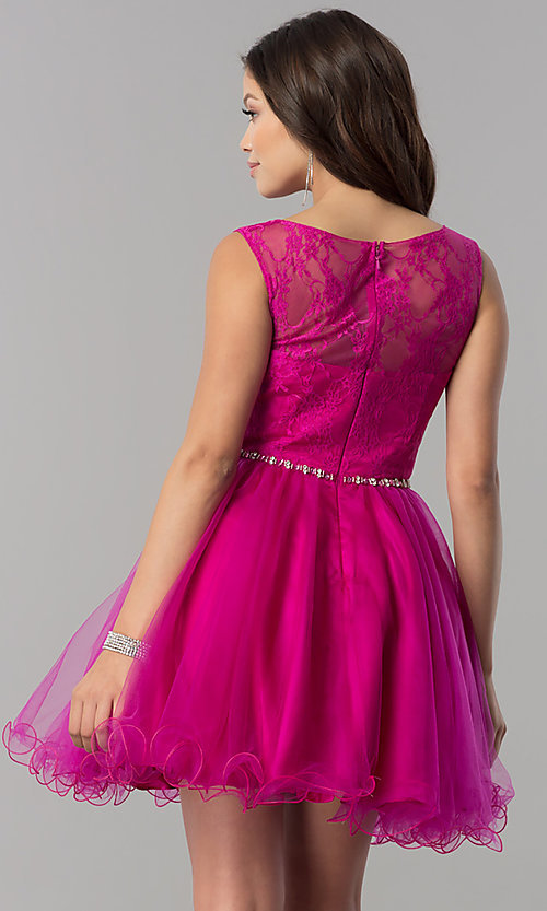 Image of short a-line holiday party dress with lace bodice. Style: NA-6323 Back Image