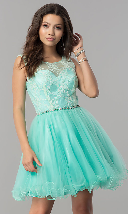 Image of short a-line holiday party dress with lace bodice. Style: NA-6323 Detail Image 1