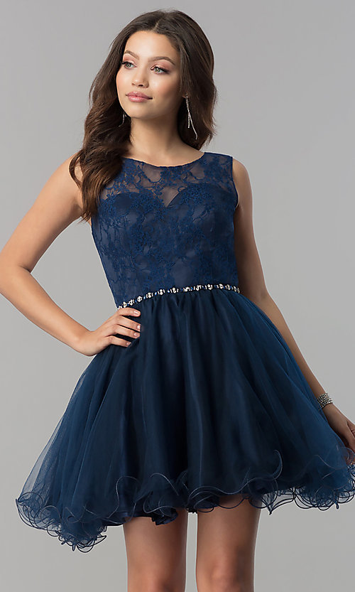 Image of short a-line holiday party dress with lace bodice. Style: NA-6323 Detail Image 2
