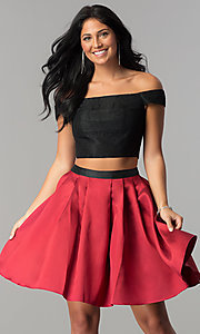 Two-Piece Lace Top Off-the-Shoulder HOCO Dress