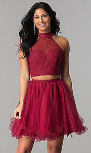 Short Two-Piece Mock-Neck Homecoming Dress