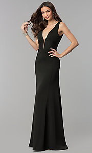 Image of sleeveless long prom dress with deep v-neckline. Style: NA-Q010 Detail Image 2