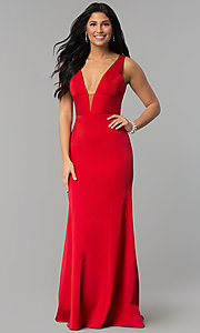 Image of sleeveless long prom dress with deep v-neckline. Style: NA-Q010 Front Image