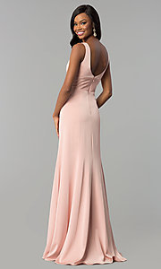 Image of sleeveless long prom dress with deep v-neckline. Style: NA-Q010 Detail Image 7