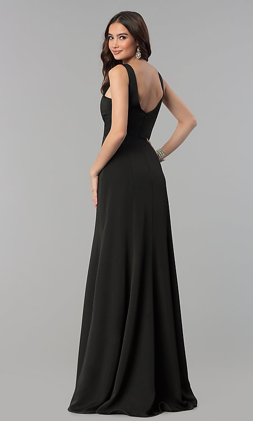 Image of sleeveless long prom dress with deep v-neckline. Style: NA-Q010 Detail Image 4