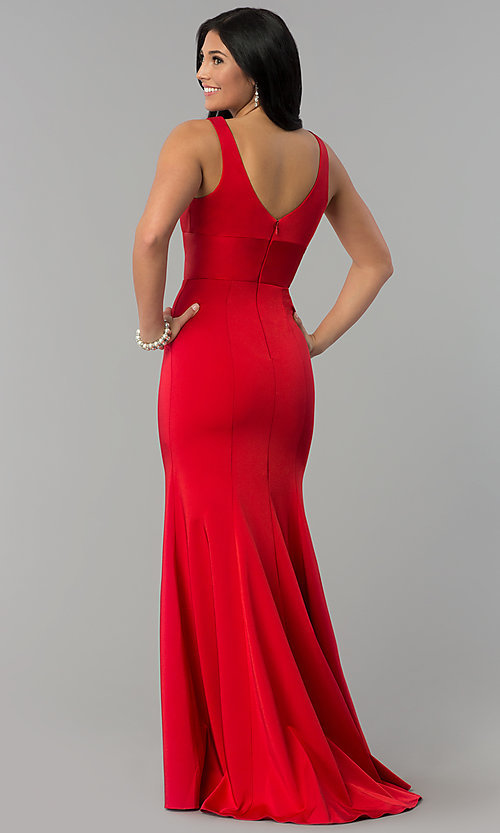 Image of sleeveless long prom dress with deep v-neckline. Style: NA-Q010 Back Image