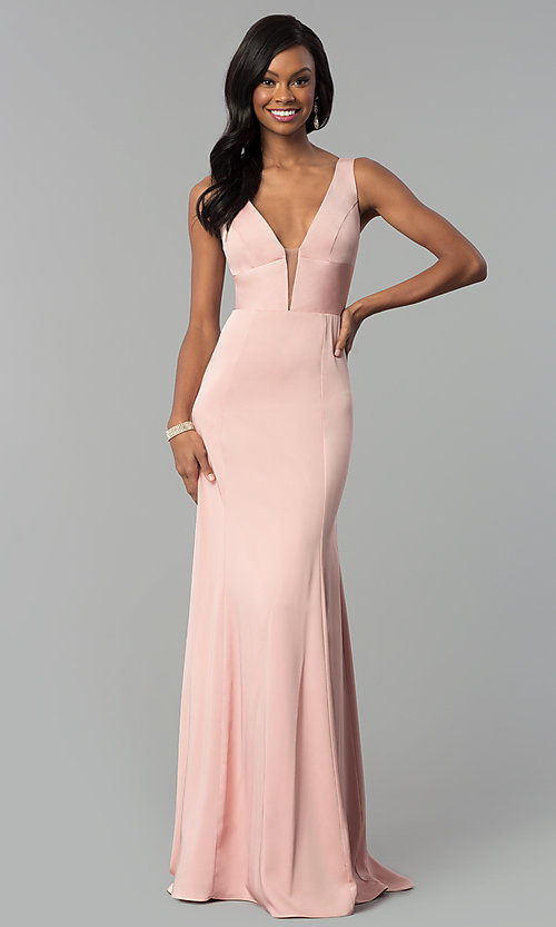 Image of sleeveless long prom dress with deep v-neckline. Style: NA-Q010 Detail Image 3