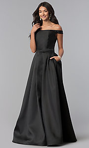 Image of long off-the-shoulder satin prom dress with pockets. Style: NA-C007 Front Image
