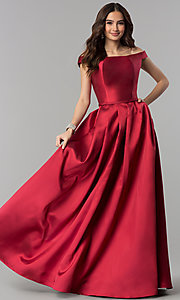 Image of long off-the-shoulder satin prom dress with pockets. Style: NA-C007 Detail Image 3