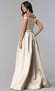 Image of long off-the-shoulder satin prom dress with pockets. Style: NA-C007 Back Image
