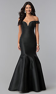 Image of long off-the-shoulder prom dress with mermaid skirt. Style: NA-C004 Detail Image 3