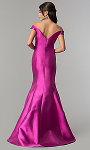 Image of long off-the-shoulder prom dress with mermaid skirt. Style: NA-C004 Back Image