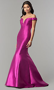 Image of long off-the-shoulder prom dress with mermaid skirt. Style: NA-C004 Front Image