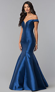 Image of long off-the-shoulder prom dress with mermaid skirt. Style: NA-C004 Detail Image 1
