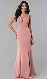 Image of v-neck long prom dress with rhinestone illusion back. Style: NA-C001 Detail Image 2