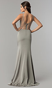 Image of v-neck long prom dress with rhinestone illusion back. Style: NA-C001 Back Image