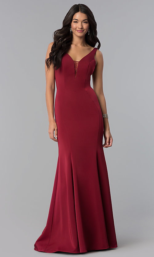 Image of v-neck long prom dress with rhinestone illusion back. Style: NA-C001 Detail Image 3
