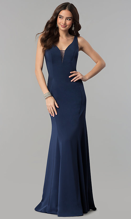 Image of v-neck long prom dress with rhinestone illusion back. Style: NA-C001 Front Image