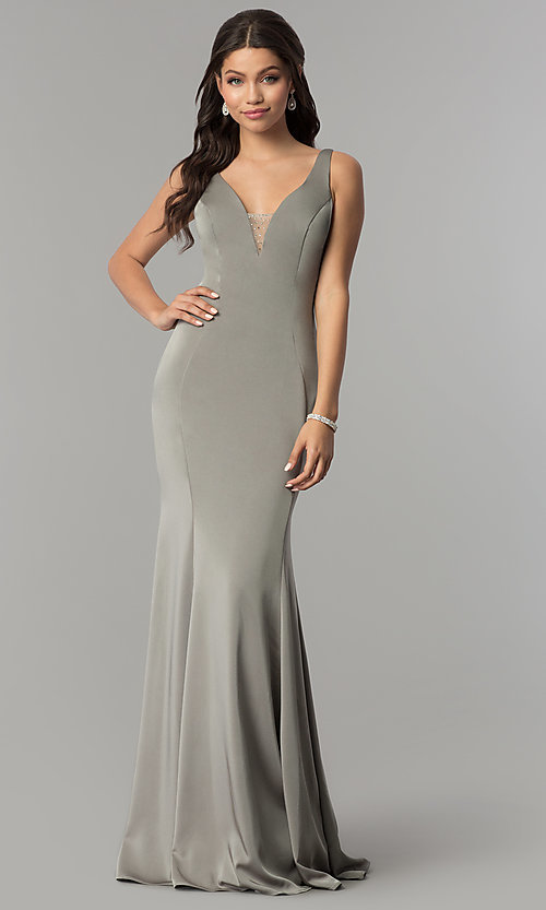Image of v-neck long prom dress with rhinestone illusion back. Style: NA-C001 Detail Image 1