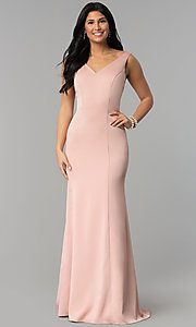 Image of princess-cut v-neck long prom dress. Style: NA-Q011 Detail Image 2