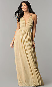 Image of long metallic crepe v-neck prom dress. Style: LUX-LD4206 Detail Image 2