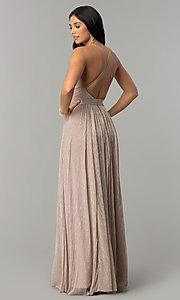 Image of long metallic crepe v-neck prom dress. Style: LUX-LD4206 Back Image