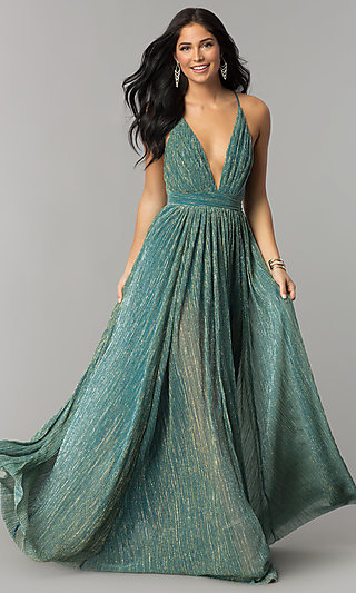 Long Metallic Crepe V-Neck Prom Dress