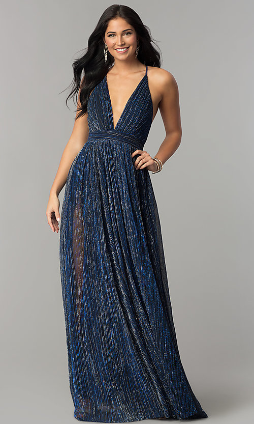 Image of long metallic crepe v-neck prom dress. Style: LUX-LD4206 Detail Image 1