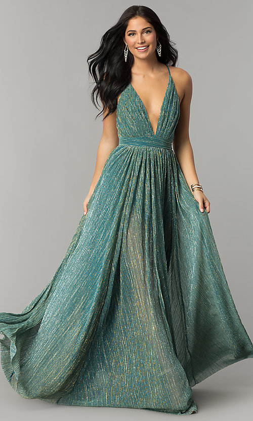 Image of long metallic crepe v-neck prom dress. Style: LUX-LD4206 Detail Image 3