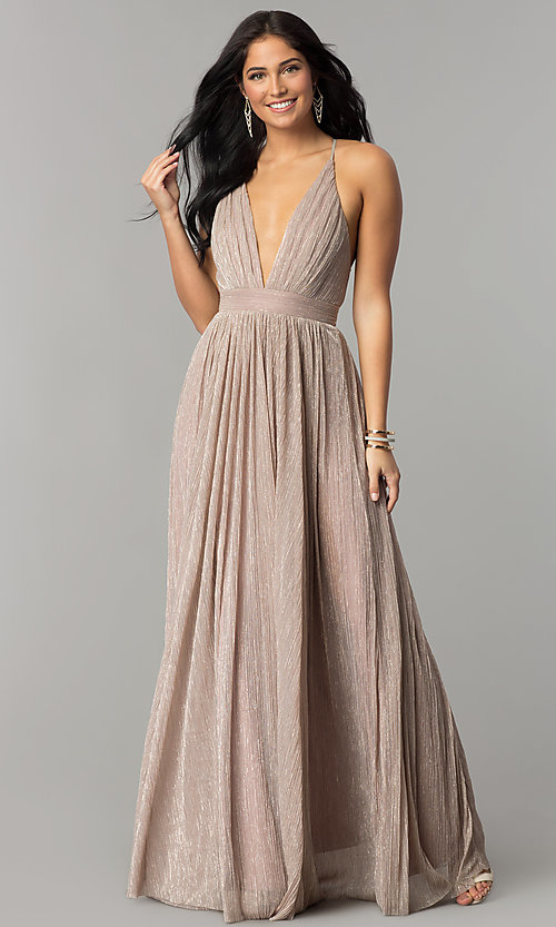 aab9a0ce231 Image of long metallic crepe v-neck prom dress. Style  LUX-LD4206