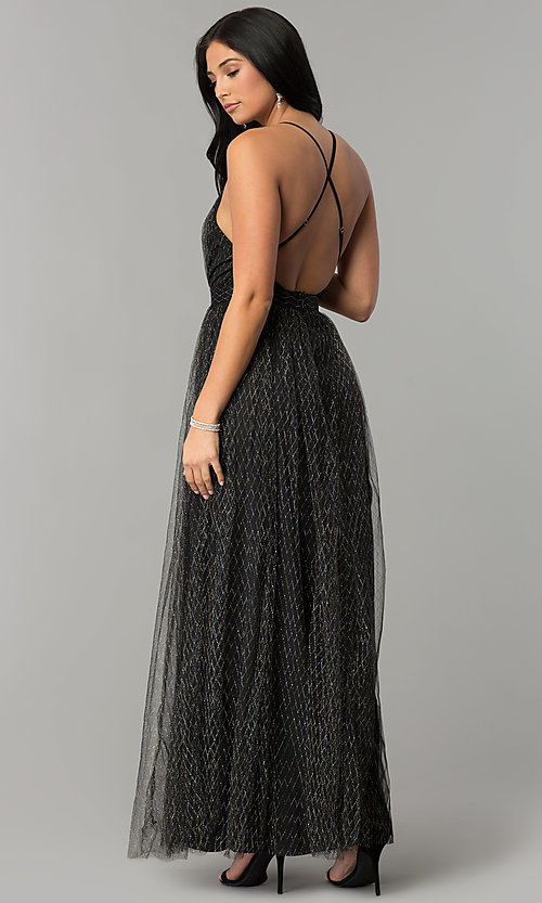 Image of v-neck metallic-tulle open-back long prom dress. Style: LUX-LD4207 Back Image