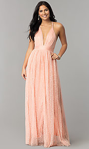 Image of deep-v-neck lace floor-length prom dress. Style: LUX-LD4171 Front Image