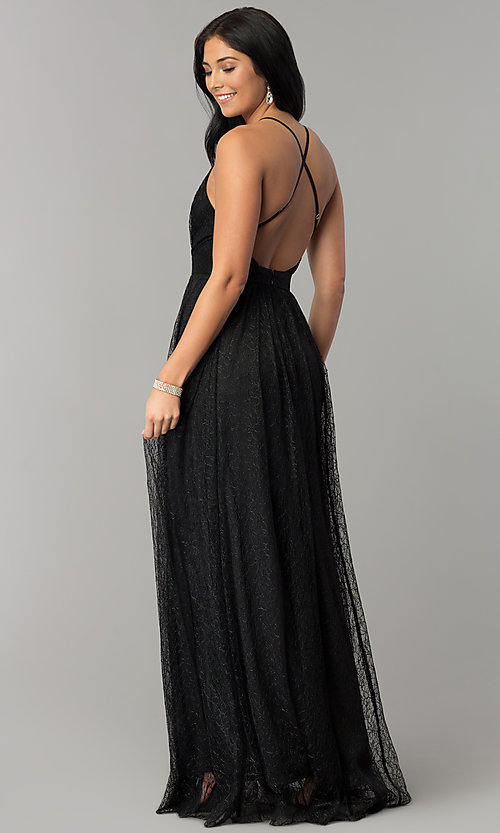 Image of deep-v-neck lace floor-length prom dress. Style: LUX-LD4171 Back Image