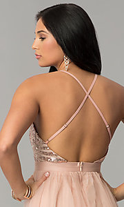 Image of deep-v-neck sequin-bodice long tulle prom dress. Style: LUX-LD4077 Detail Image 2