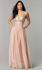 Image of deep-v-neck sequin-bodice long tulle prom dress. Style: LUX-LD4077 Detail Image 1