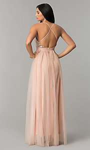 Image of deep-v-neck sequin-bodice long tulle prom dress. Style: LUX-LD4077 Back Image