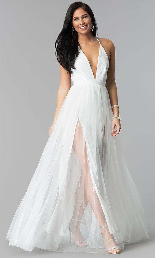 Image of deep-v-neck sequin-bodice long tulle prom dress. Style: LUX-LD4077 Detail Image 3