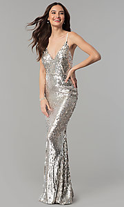 Image of long v-neck sequin prom dress with open back. Style: LUX-LD4225 Front Image