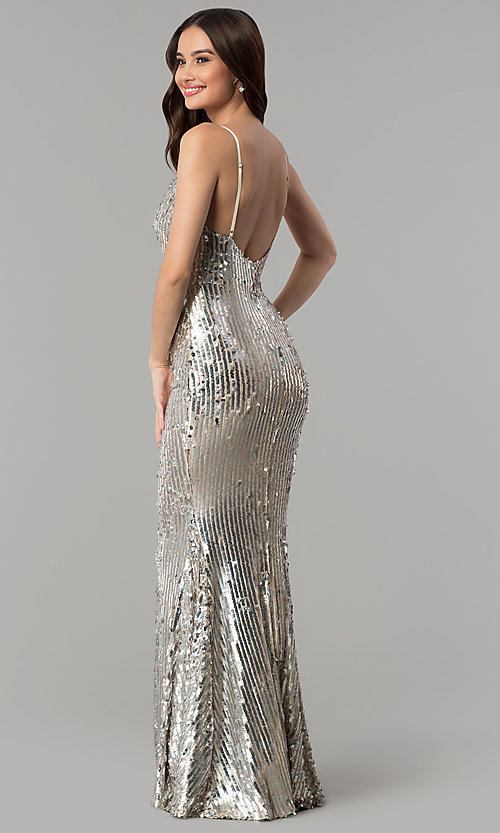 Image of long v-neck sequin prom dress with open back. Style: LUX-LD4225 Back Image
