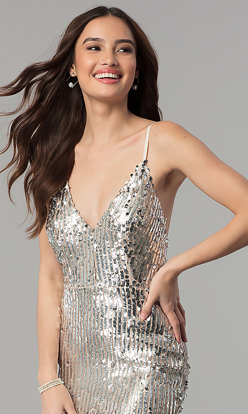Image of long v-neck sequin prom dress with open back. Style: LUX-LD4225 Detail Image 1