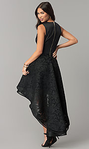 Image of satin high-low lace party dress with v-neck bodice. Style: LUX-LD3749-D Detail Image 1